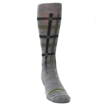 Image of Gray Green Huntley Plaid Wool Men's Casual Socks (side-1-front-03)