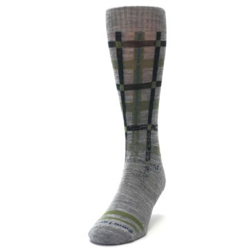 Image of Gray Green Huntley Plaid Wool Men's Casual Socks (side-2-front-06)