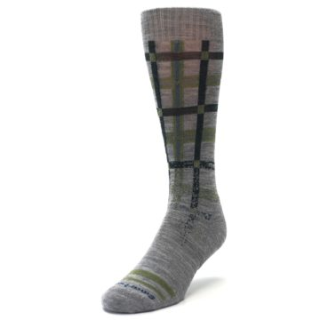 Image of Gray Green Huntley Plaid Wool Men's Casual Socks (side-2-front-07)