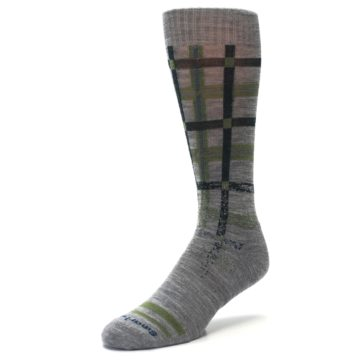 Image of Gray Green Huntley Plaid Wool Men's Casual Socks (side-2-front-08)