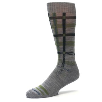 Image of Gray Green Huntley Plaid Wool Men's Casual Socks (side-2-09)