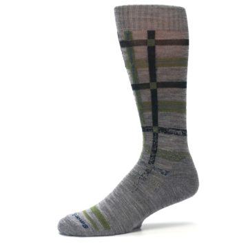 Image of Gray Green Huntley Plaid Wool Men's Casual Socks (side-2-10)