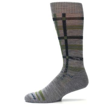 Image of Gray Green Huntley Plaid Wool Men's Casual Socks (side-2-11)