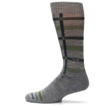 Image of Gray Green Huntley Plaid Wool Men's Casual Socks (side-2-12)