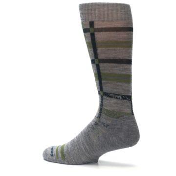 Image of Gray Green Huntley Plaid Wool Men's Casual Socks (side-2-13)