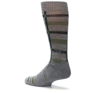 Image of Gray Green Huntley Plaid Wool Men's Casual Socks (side-2-back-14)
