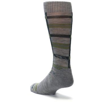 Image of Gray Green Huntley Plaid Wool Men's Casual Socks (side-2-back-15)