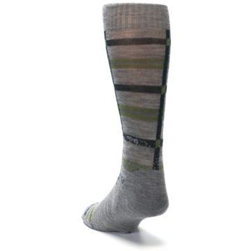 Image of Gray Green Huntley Plaid Wool Men's Casual Socks (side-2-back-16)