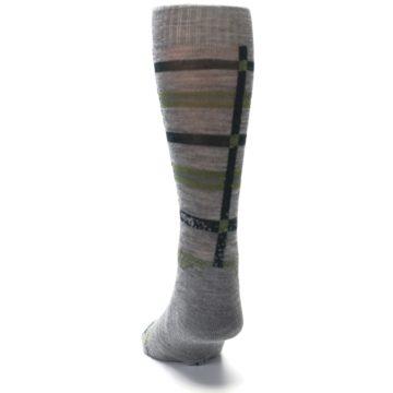 Image of Gray Green Huntley Plaid Wool Men's Casual Socks (back-17)