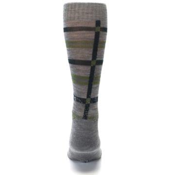 Image of Gray Green Huntley Plaid Wool Men's Casual Socks (back-18)