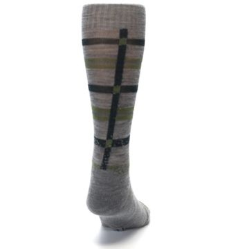Image of Gray Green Huntley Plaid Wool Men's Casual Socks (back-19)