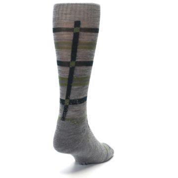 Image of Gray Green Huntley Plaid Wool Men's Casual Socks (side-1-back-20)