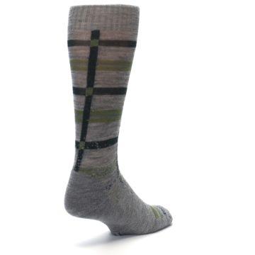 Image of Gray Green Huntley Plaid Wool Men's Casual Socks (side-1-back-21)