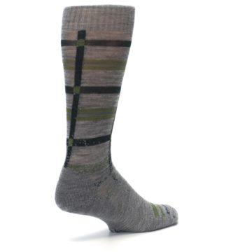 Image of Gray Green Huntley Plaid Wool Men's Casual Socks (side-1-back-22)
