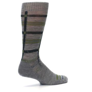 Image of Gray Green Huntley Plaid Wool Men's Casual Socks (side-1-23)