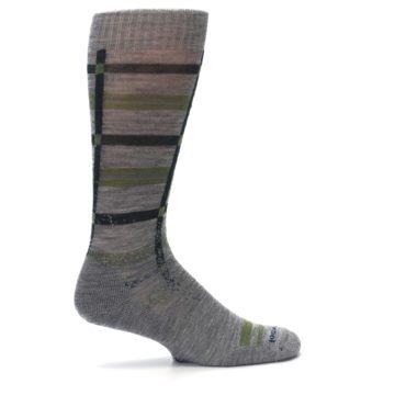 Image of Gray Green Huntley Plaid Wool Men's Casual Socks (side-1-24)