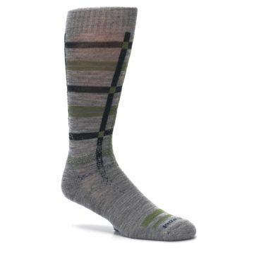 Image of Gray Green Huntley Plaid Wool Men's Casual Socks (side-1-26)