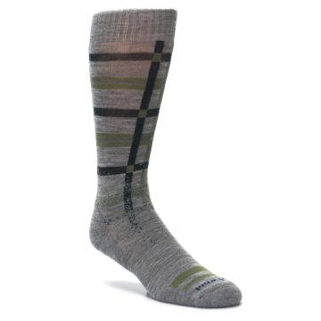 Image of Gray Green Huntley Plaid Wool Men's Casual Socks (side-1-27)