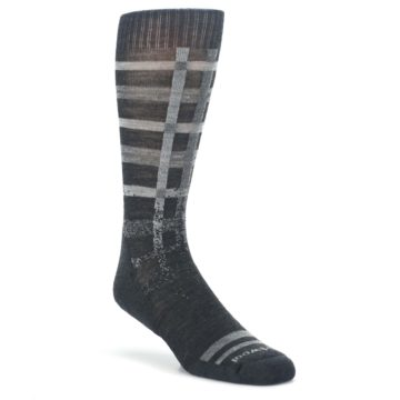 Charcoal-Gray-Huntley-Plaid-Wool-Mens-Casual-Socks-Smartwool