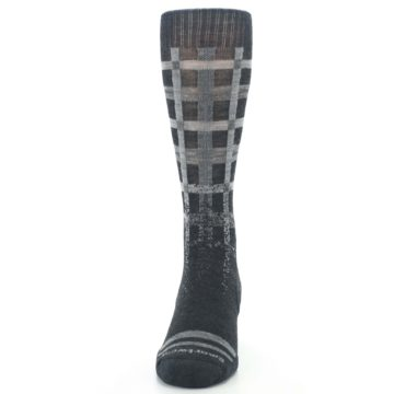 Image of Charcoal Gray Huntley Plaid Wool Men's Casual Socks (front-05)