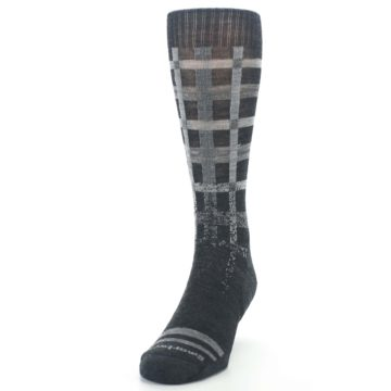 Image of Charcoal Gray Huntley Plaid Wool Men's Casual Socks (side-2-front-06)