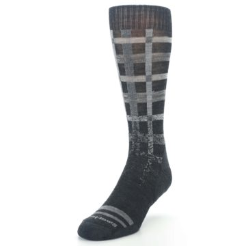 Image of Charcoal Gray Huntley Plaid Wool Men's Casual Socks (side-2-front-07)