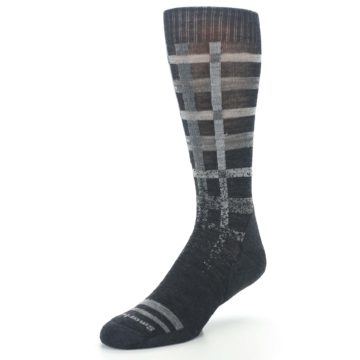 Image of Charcoal Gray Huntley Plaid Wool Men's Casual Socks (side-2-front-08)