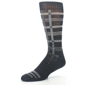 Image of Charcoal Gray Huntley Plaid Wool Men's Casual Socks (side-2-09)