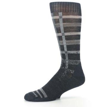 Image of Charcoal Gray Huntley Plaid Wool Men's Casual Socks (side-2-10)