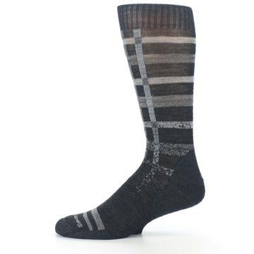 Image of Charcoal Gray Huntley Plaid Wool Men's Casual Socks (side-2-11)
