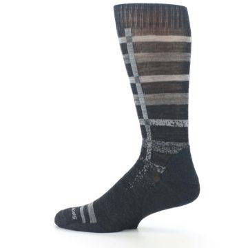 Image of Charcoal Gray Huntley Plaid Wool Men's Casual Socks (side-2-12)