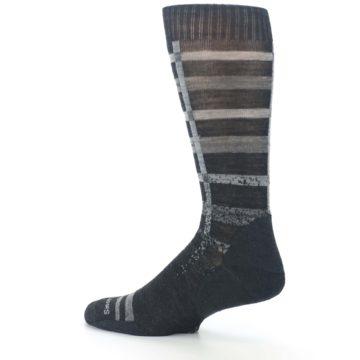 Image of Charcoal Gray Huntley Plaid Wool Men's Casual Socks (side-2-13)