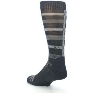 Image of Charcoal Gray Huntley Plaid Wool Men's Casual Socks (side-2-back-15)
