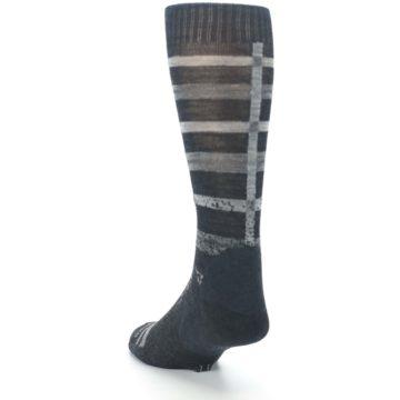 Image of Charcoal Gray Huntley Plaid Wool Men's Casual Socks (side-2-back-16)