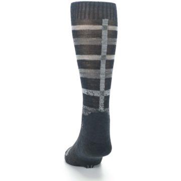 Image of Charcoal Gray Huntley Plaid Wool Men's Casual Socks (back-17)