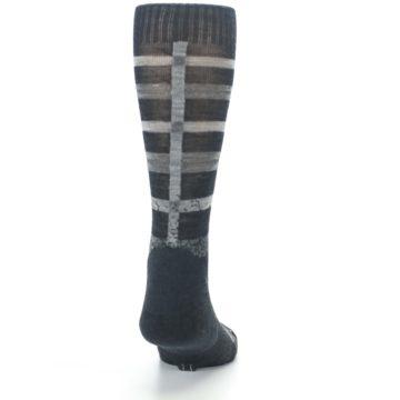 Image of Charcoal Gray Huntley Plaid Wool Men's Casual Socks (back-19)