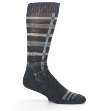 Image of Charcoal Gray Huntley Plaid Wool Men's Casual Socks (side-1-25)