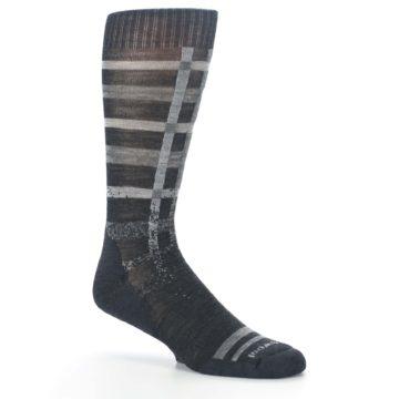 Image of Charcoal Gray Huntley Plaid Wool Men's Casual Socks (side-1-26)