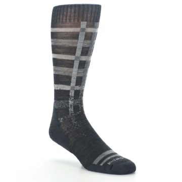 Image of Charcoal Gray Huntley Plaid Wool Men's Casual Socks (side-1-27)