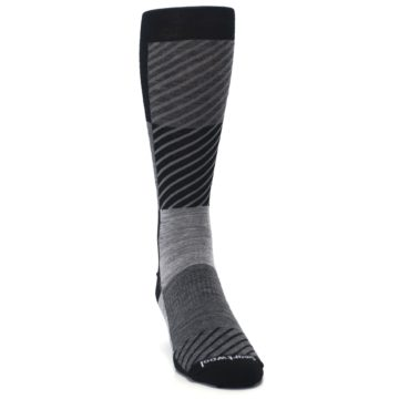 Image of Black Gray Gunnar Checkered Wool Men's Casual Socks (side-1-front-03)