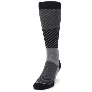 Image of Black Gray Gunnar Checkered Wool Men's Casual Socks (side-2-front-06)