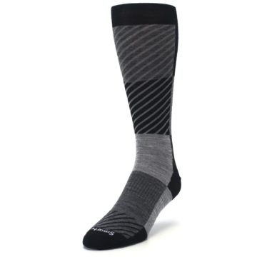 Image of Black Gray Gunnar Checkered Wool Men's Casual Socks (side-2-front-07)