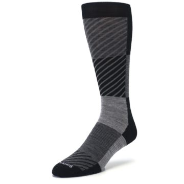 Image of Black Gray Gunnar Checkered Wool Men's Casual Socks (side-2-front-08)