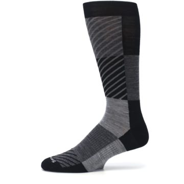 Image of Black Gray Gunnar Checkered Wool Men's Casual Socks (side-2-11)