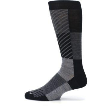 Image of Black Gray Gunnar Checkered Wool Men's Casual Socks (side-2-12)