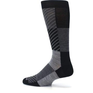 Image of Black Gray Gunnar Checkered Wool Men's Casual Socks (side-2-13)