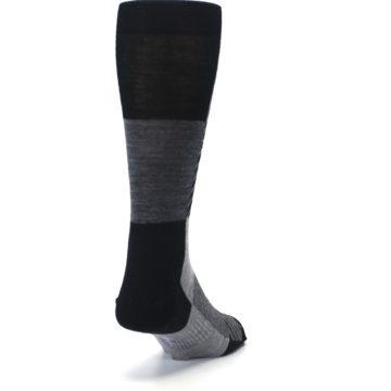 Image of Black Gray Gunnar Checkered Wool Men's Casual Socks (back-19)