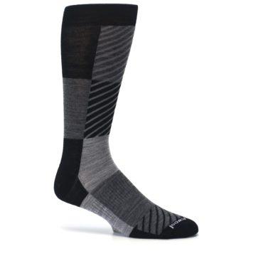 Image of Black Gray Gunnar Checkered Wool Men's Casual Socks (side-1-24)
