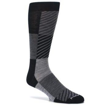 Image of Black Gray Gunnar Checkered Wool Men's Casual Socks (side-1-25)