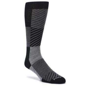 Image of Black Gray Gunnar Checkered Wool Men's Casual Socks (side-1-26)
